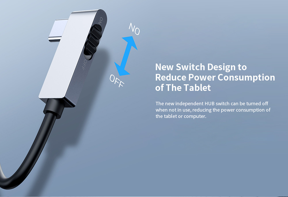Baseus Corner No. 7 Multifunction Type-C Hub New Switch Design to Reduce Power Consumption of The Tablet