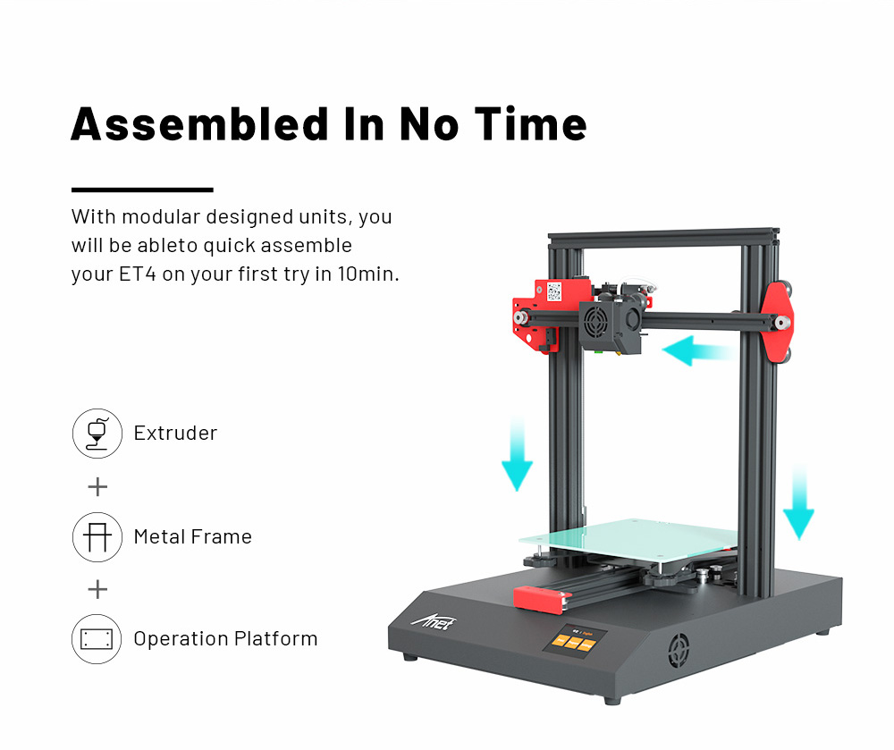 Anet ET4 New Version Touch Control Quick Assembly 220 x 220 x 250mm FDM 3D Printer - Multi EU Plug