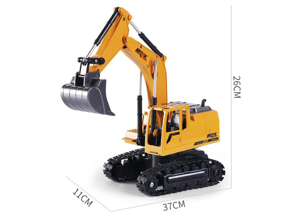 1:24 Eight-Channel Remote Control Alloy Excavator RC Engineering Car Toy - Bee Yellow