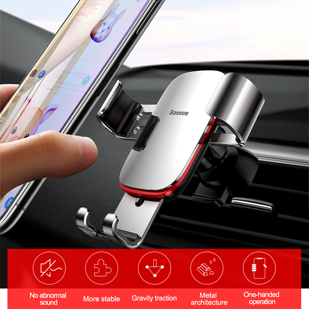 Baseus Nice Gravity Car Phone Air Outlet Bracket 360 Degree Rotation for IPhone - Platinum