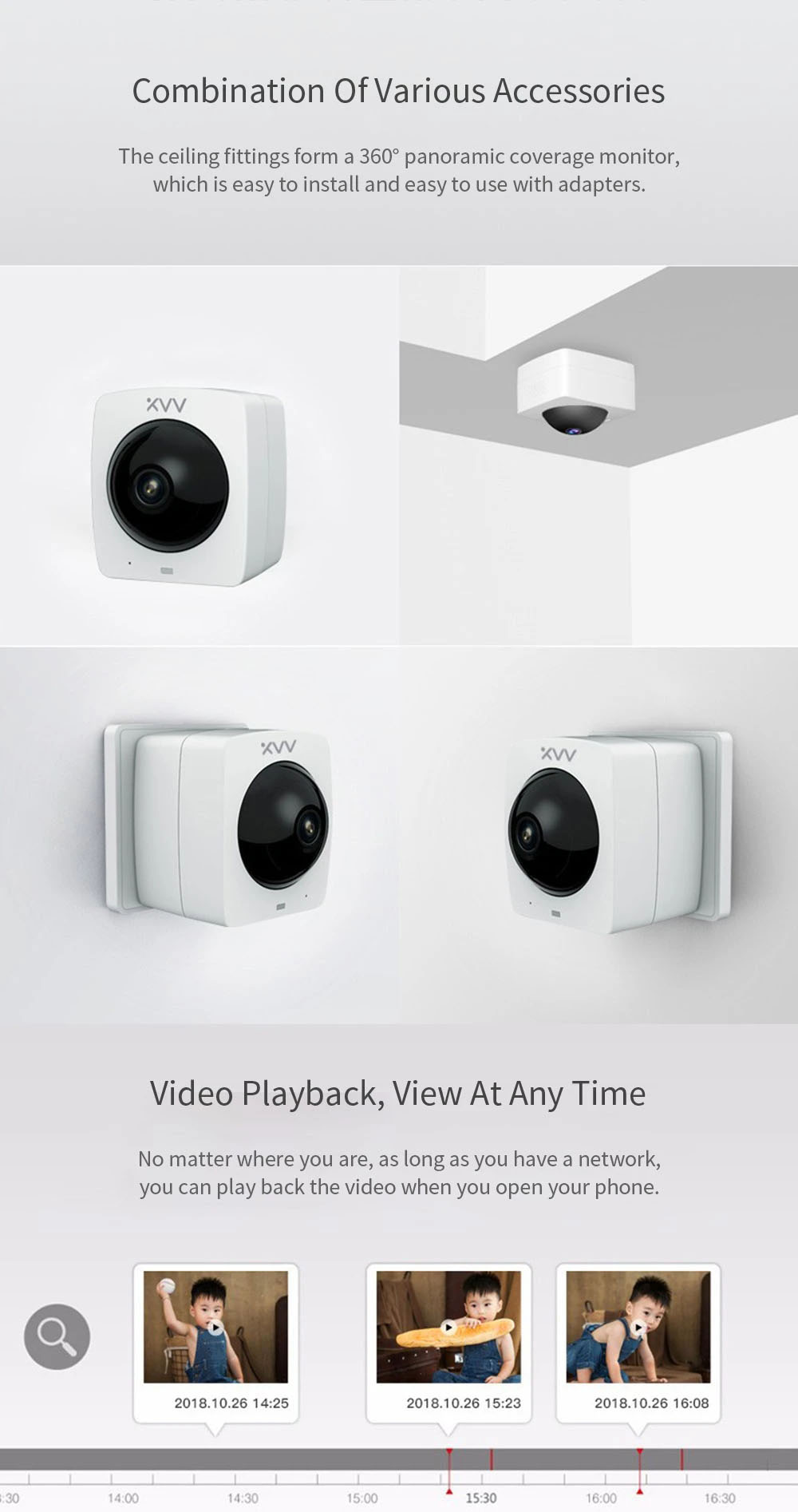 Xiaovv MV1120S-A1 (V380)  Smart Outlet Panoramic IP Camera HD 1080P 360 ° AI Humanoid Detection Security Camera Split Screen Infrared Night Vision Plug-in Version - White US Plug (2-pin)