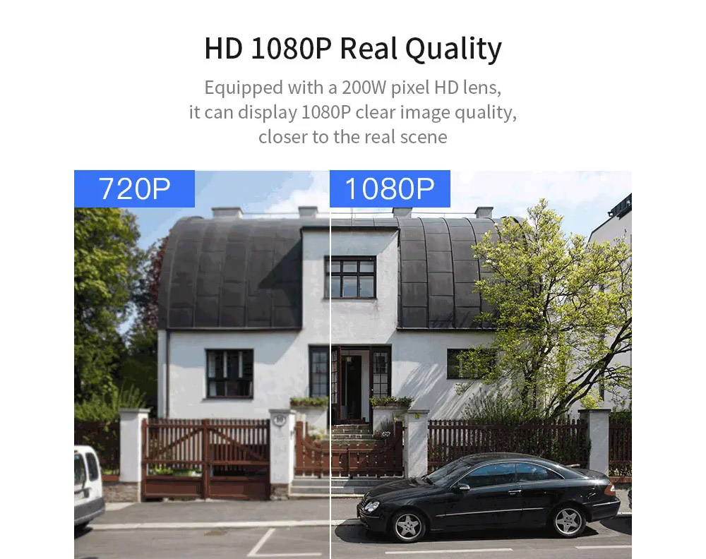 Xiaovv XVV-1120S-B1 V380 H.265 Smart 1080P Panoramic IP Camera Onvif Waterproof 180-Degree Outdoor Infrared Night Vision Home Baby Monitor Outdoor High-Definition App Control - White EU Plug