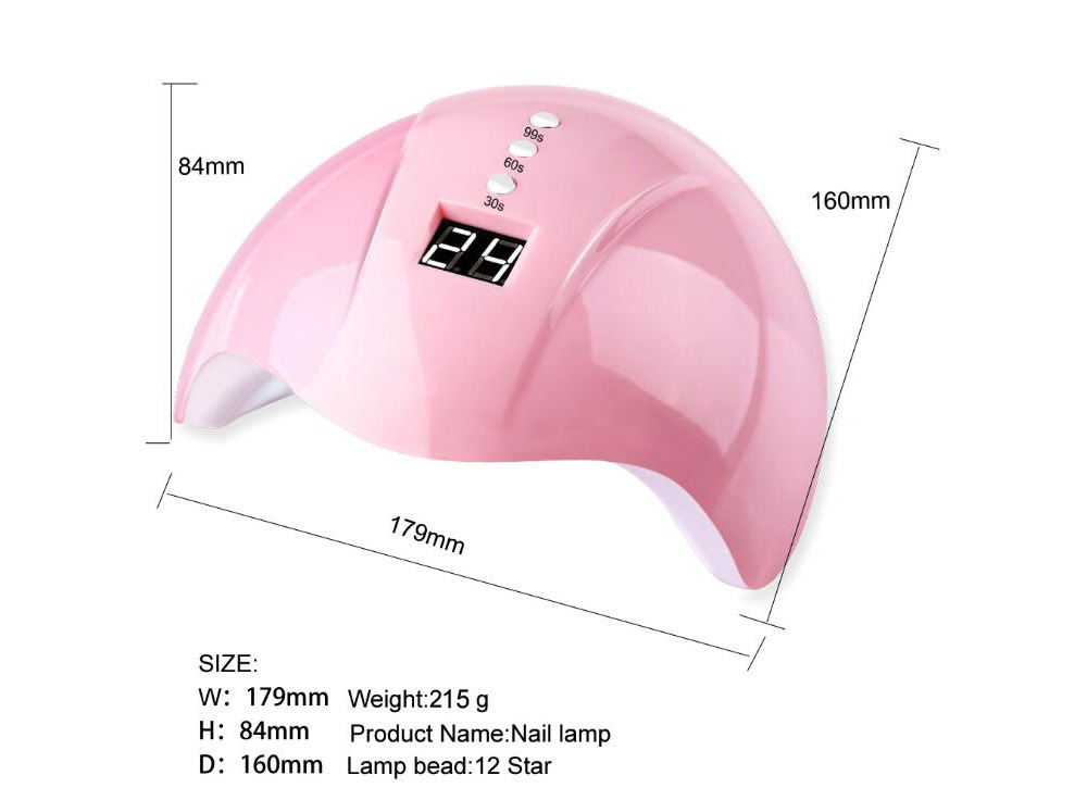 SYJF 144 Induction Nail Lamp Nail Dryer LED / UV Light Therapy Machine USB Glue Baking Tool - Pink