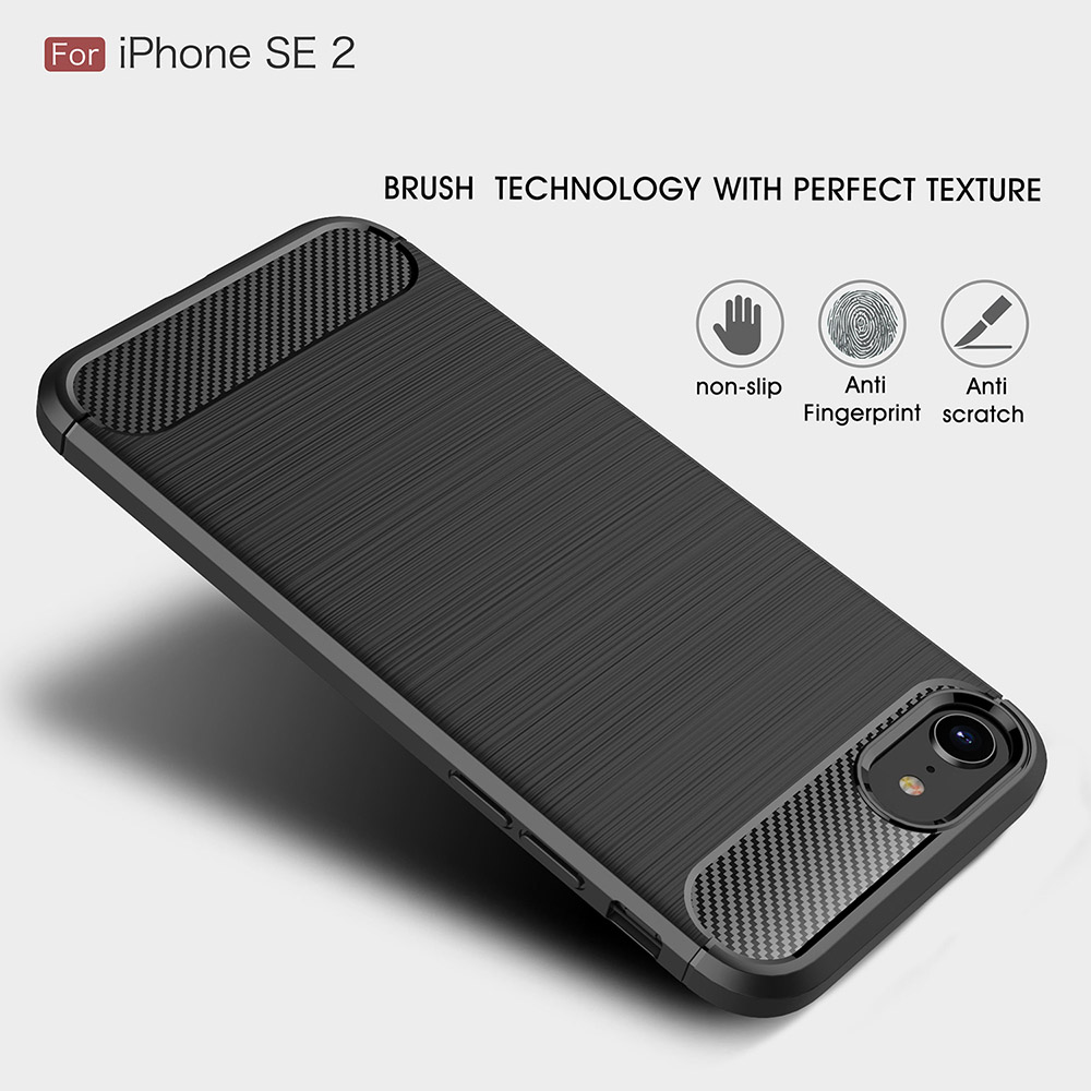ASLING Carbon Fiber TPU Soft Protective Case Cover for iPhone SE 2 / iPhone 7 / 8 - Black