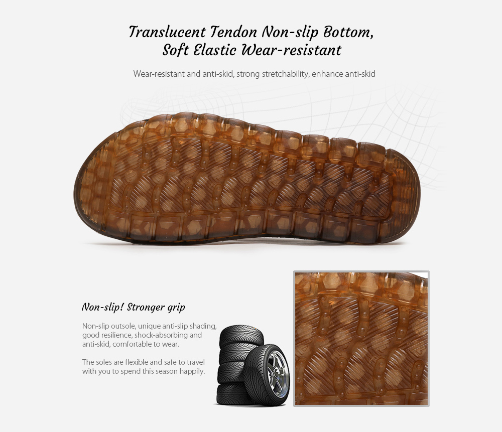 SENBAO 6779 High-quality Cowhide Summer Sandals Translucent Tendon Non-slip Bottom, Soft Elastic Wear-resistant