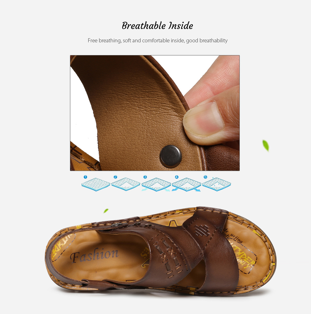 SENBAO 6779 High-quality Cowhide Summer Sandals Breathable Inside