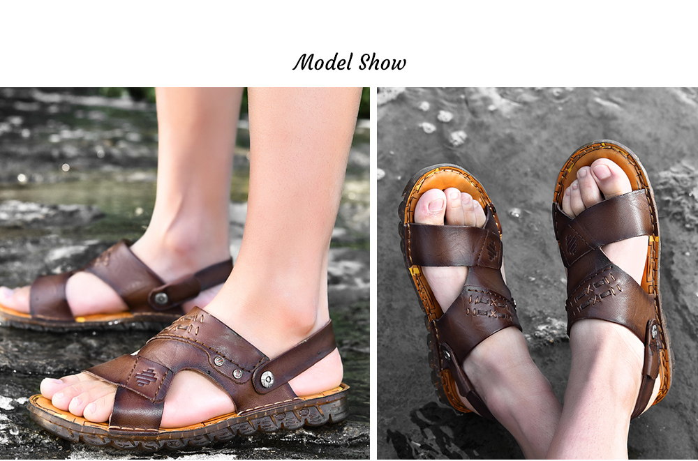 SENBAO 6779 High-quality Cowhide Summer Sandals model show