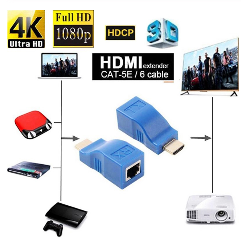 30m HDCP 1080P 4K HDMI Extender HDMI to RJ45 Adapter Ethernet Network Extender by Cat 5 / 6 3D HDTV Display for DCD PS3 STB 2PCS - Dodger Blue