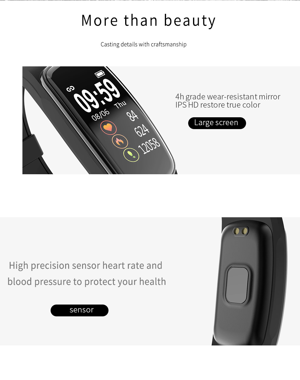 CORN CB01 Smart Bracelet Support Heart Rate Sleep Health Monitoring IP68 Waterproof Multi-Sport Mode Pedometer Intelligent Wristband - Black