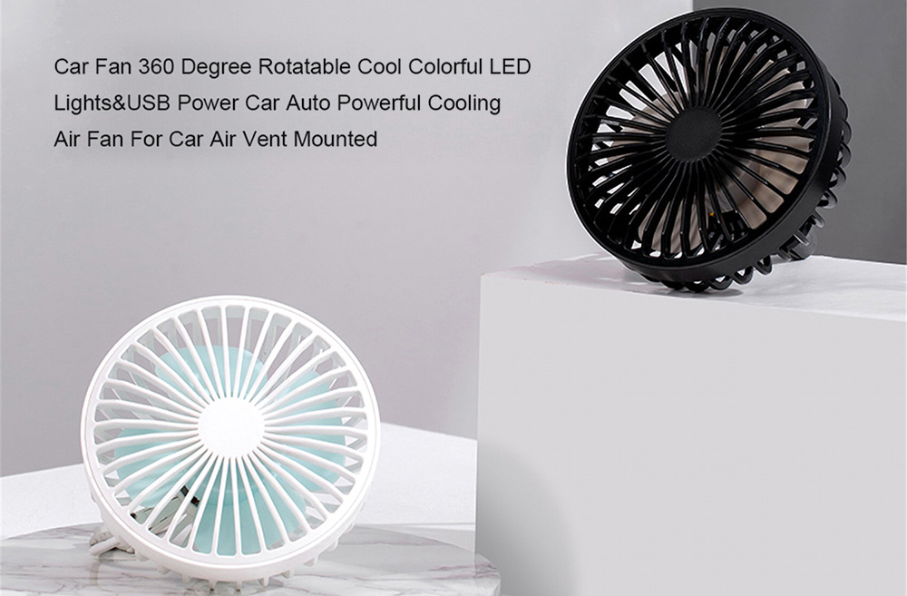 Car USB Adjustable Air Outlet Fan 360-degree Rotation with Colored Atmosphere Light Automatic Strong Cold Wind - Yellow