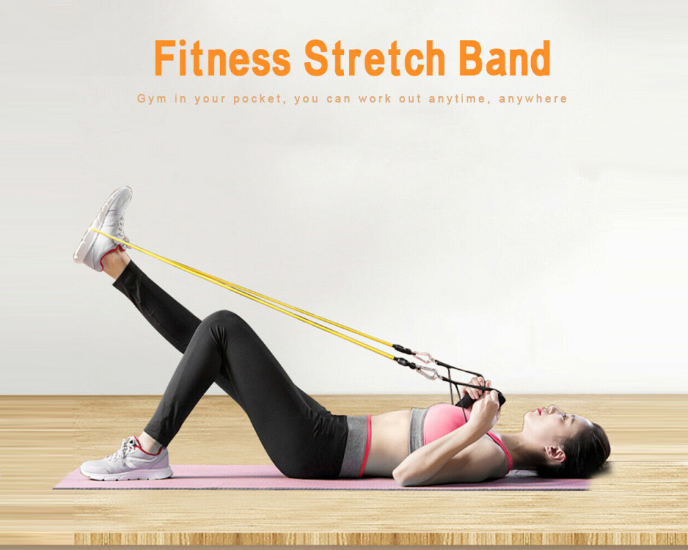 Gocomma Resistance Bands Heavy Workout Exercise Yoga Fitness Tubes Home Training Gyms Workout Elastic Band 11PCS / Set - Multi-A