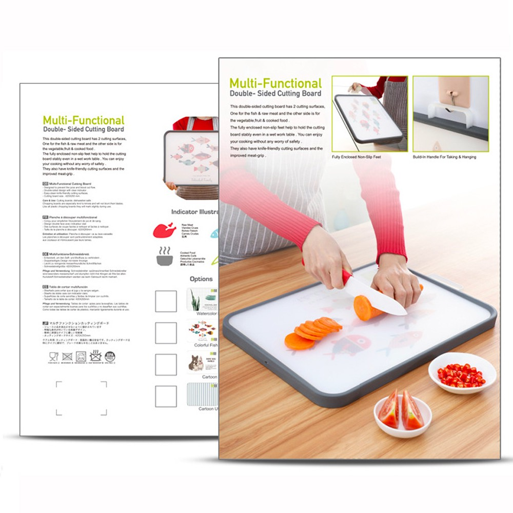 Multifunctional Double-Sided Cutting Board 304 Stainless Steel Grade PP Material - Gray Goose 45*38CM
