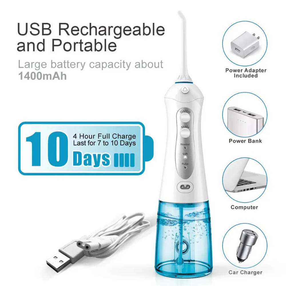 Durable Nice 300ML Portable Wireless Electric Oral Irrigation Device Floss Water - Denim Blue