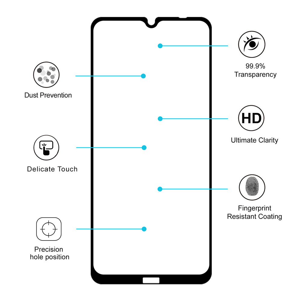ENKAY 0.26mm 9H 2.5D Full-screen Toughened Glass Screen Protector Protective Film for Redmi Note 8T / Motorola Moto One Marco / Moto G8 Play / Honor V30 / V30 Pro / Huawei Nova 6 2pcs - Black Motorola Moto One Marco / Moto G8 Play