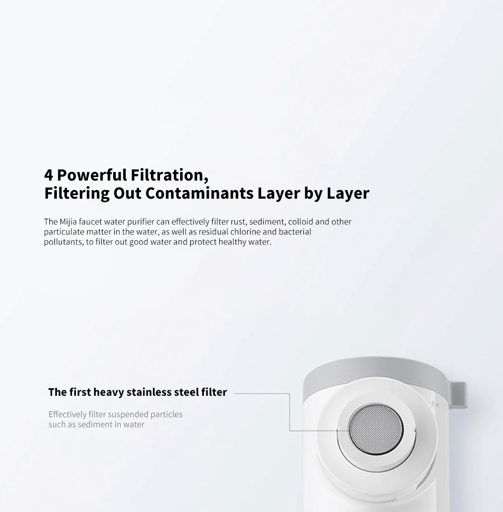 Xiaomi Mijia MUL11 Faucet Water Purifier 4 Powerful Filtration, Filtering Out Contaminants Layer by Layer