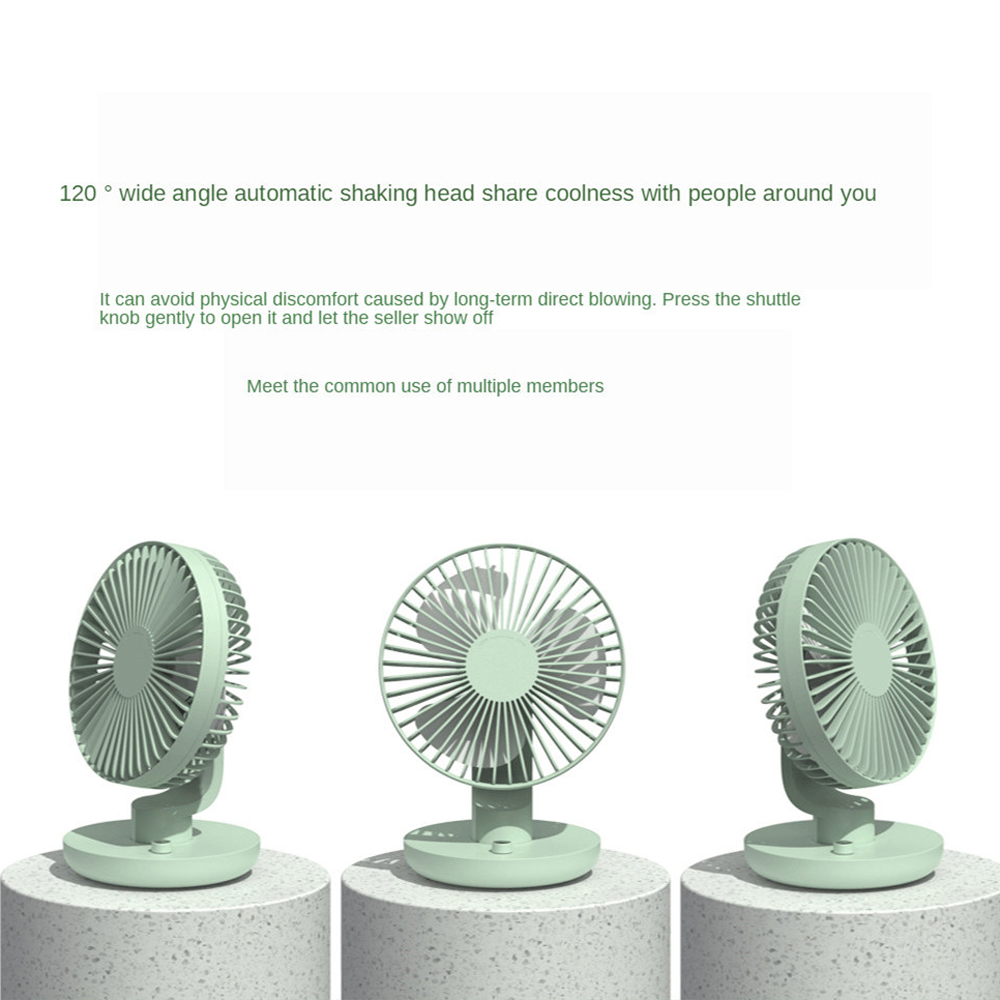 Mini Fan 120 Degree Rotation Strong Wind Low Noise Dual Battery USB Rechargeable - Mint green