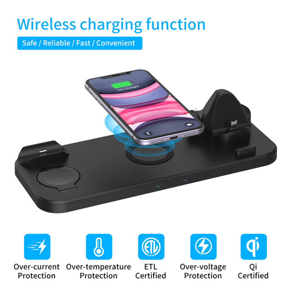 6-IN-1 Qi Wireless Charger Dock for Iphone XS 11 Pro Airpods Pro Watch Charger - Jet Black