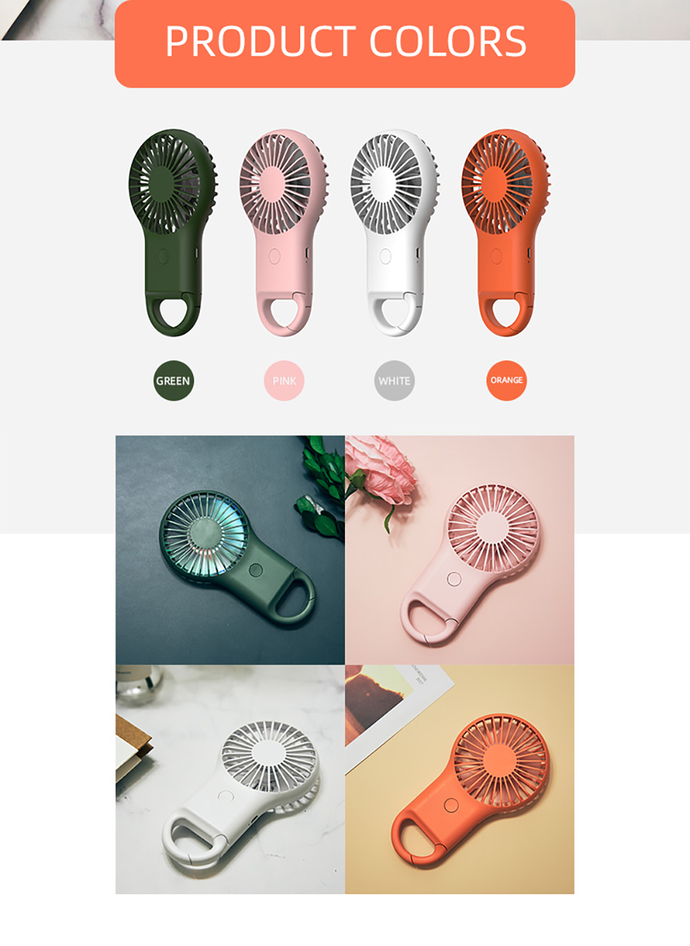 WFY-102 Handheld Mini Electronic Fan with Three Gear Adjustable Strong Wind LED Night Light Carabiner - Dark Forest Green