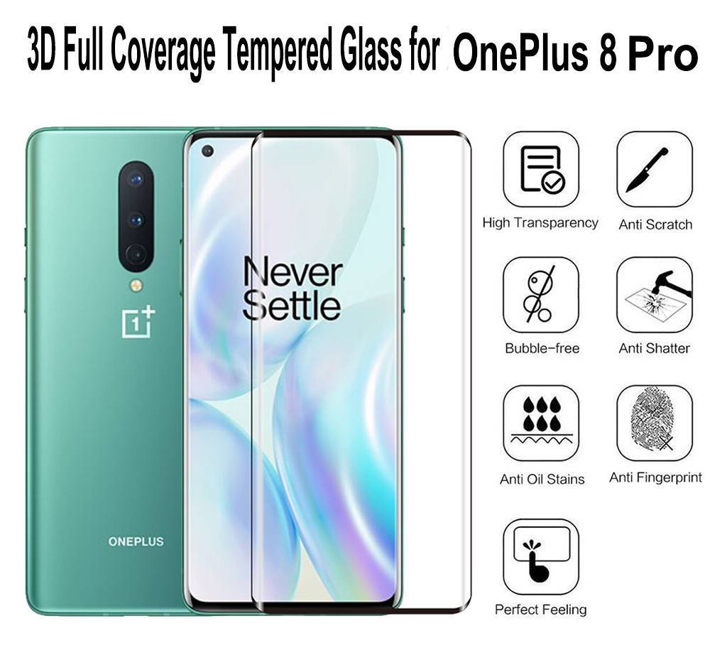 ASLING 3D Full-screen Tempered Glass Screen Protector Protective Film for OnePlus 8 Pro - Black