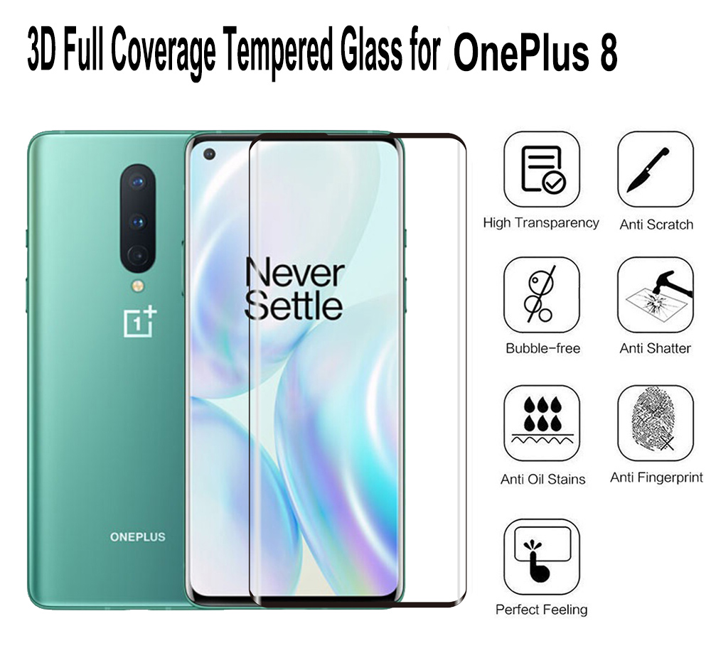 ASLING 3D Full Screen Tempered Glass Screen Protector Protective Film for OnePlus 8 - Black
