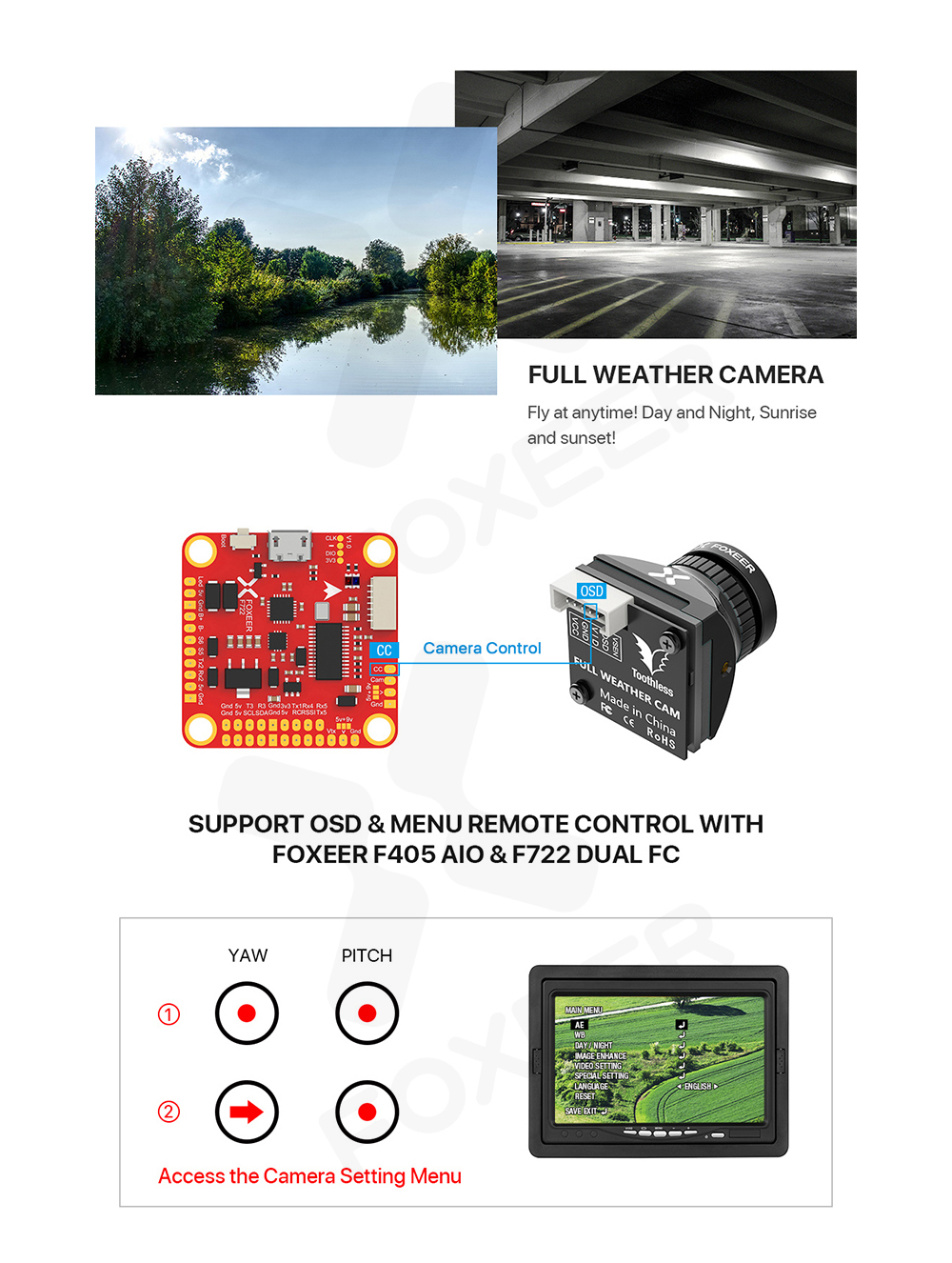 Micro Toothless 2 Angle Switchable FPV StarLight Camera 1 / 2 inch Sensor Super HDR - White Toothless micro