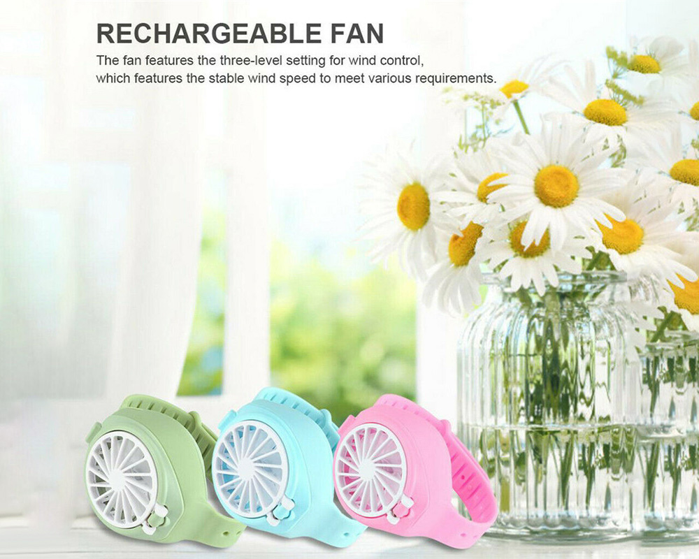 USB Charging Three Gears Adjustment Mini Hand-held Bracelet Electronic Fan for Children and Students - Blue Zircon