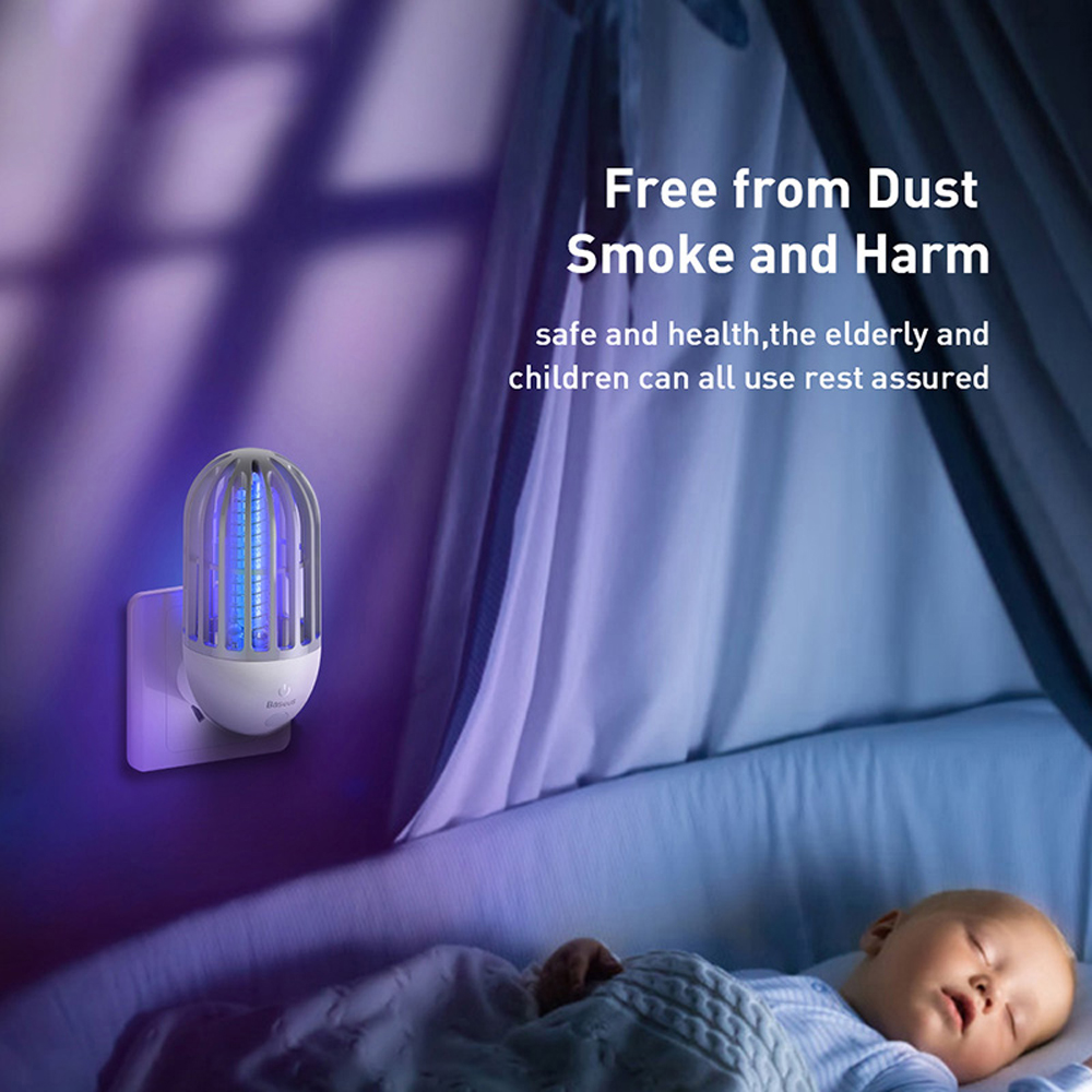Nice Baseus Socket Electric Mosquito Killer LED Night Light European Regulations - Milk White EU Plug