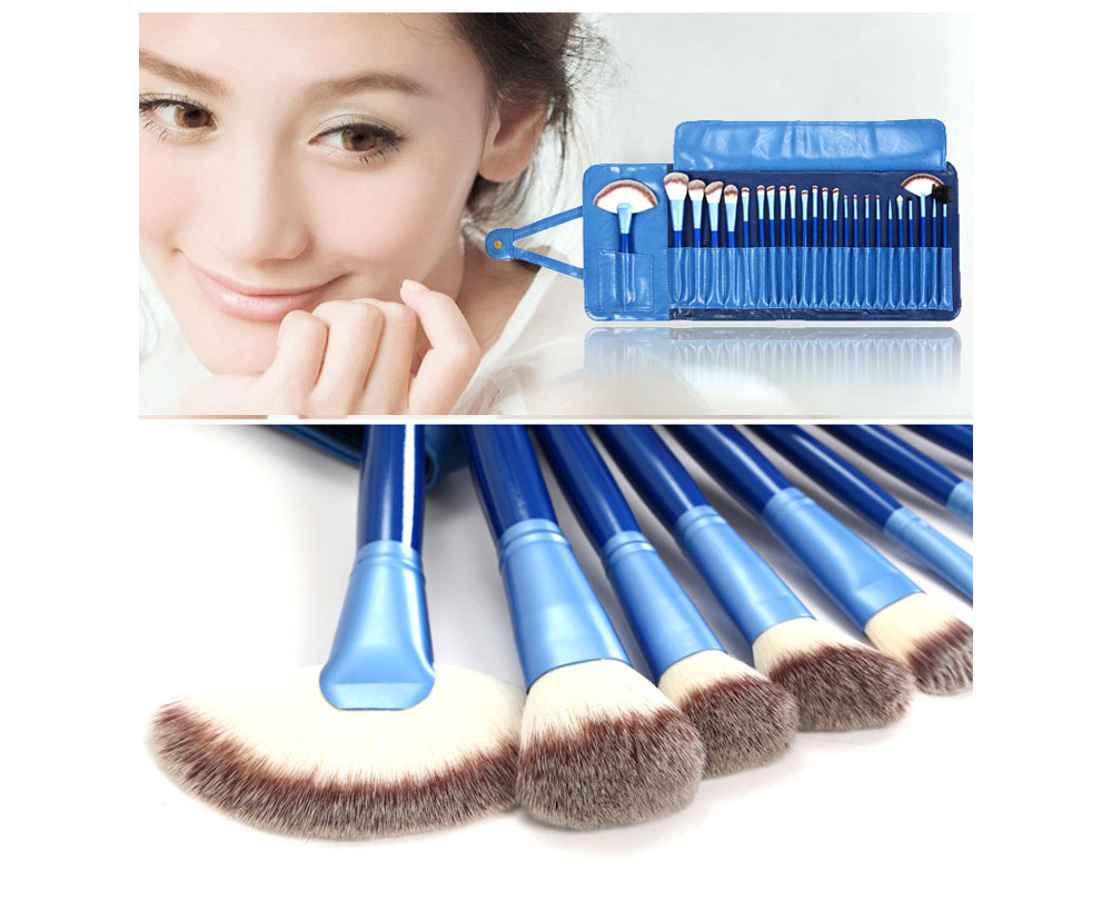Blue Pattern Makeup Brush Set 24PCS Brushes with Three-color Bristles Wooden Handle and Storage Bag - Navy Blue
