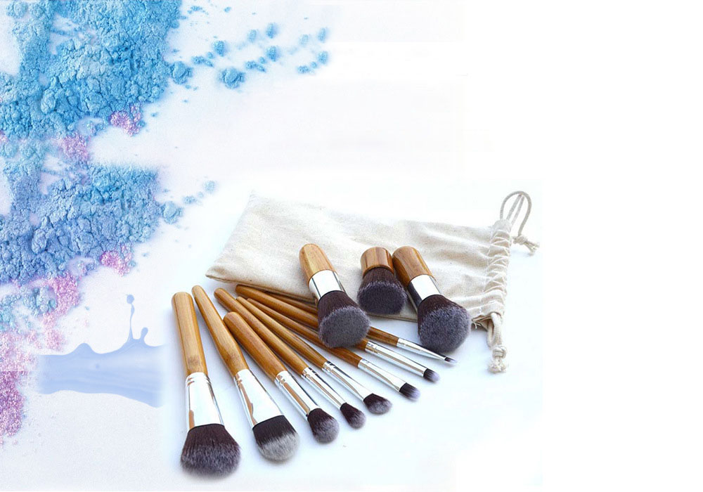 Cosmetics Beauty Makeup Brush Set 11PCS Brushes with Two-color Soft Bristles Bamboo Handle and Storage Bag - Deep Yellow