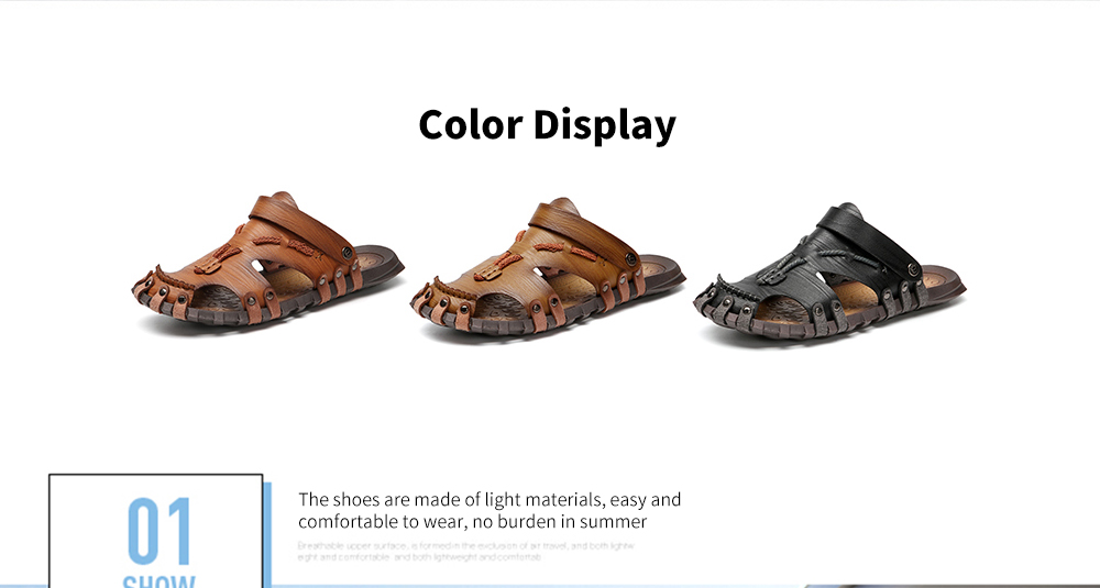 AILADUN Dual-use Hand Stitched Leisure Male Sandals color display