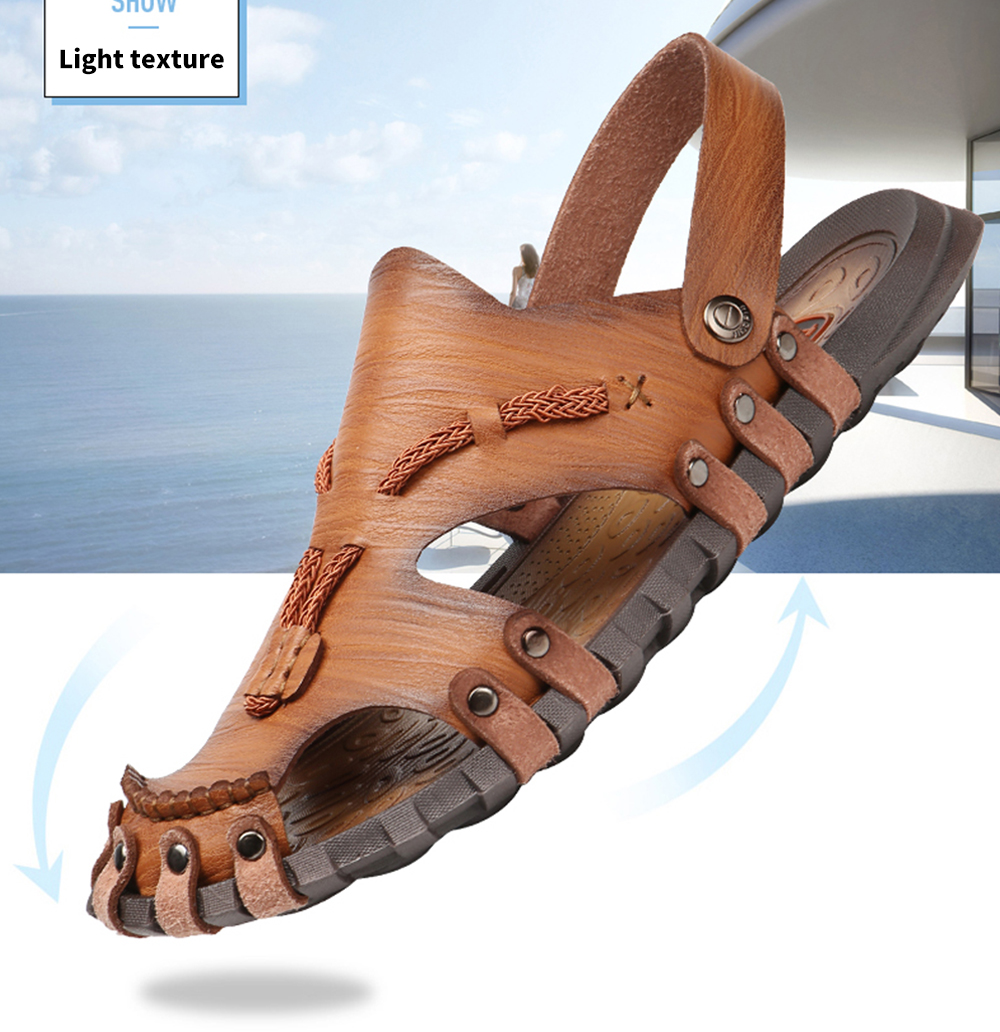 AILADUN Dual-use Hand Stitched Leisure Male Sandals Light texture