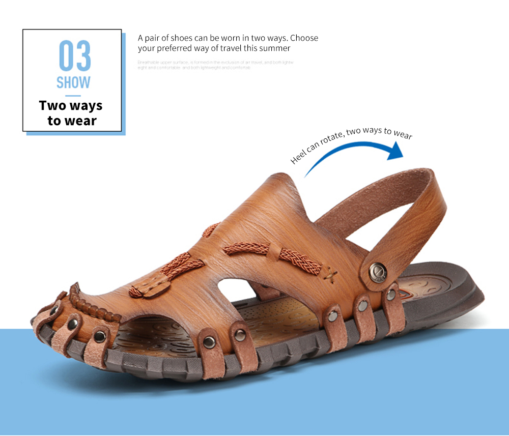 AILADUN Dual-use Hand Stitched Leisure Male Sandals Two ways to wear