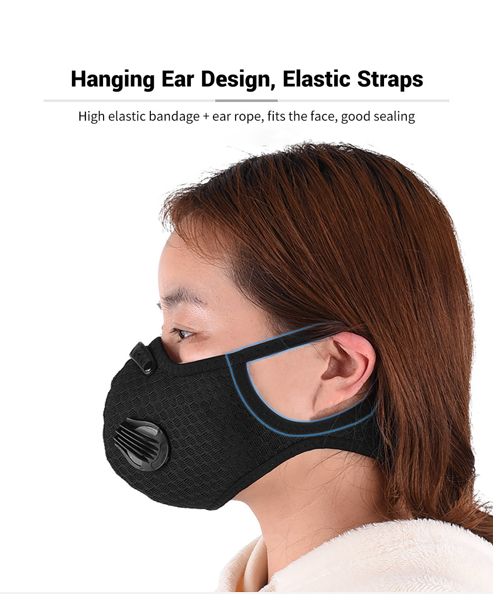 Bicycle Riding Mask Breathable Mesh Cycling Face Masks Hanging Ear Design, Elastic Straps