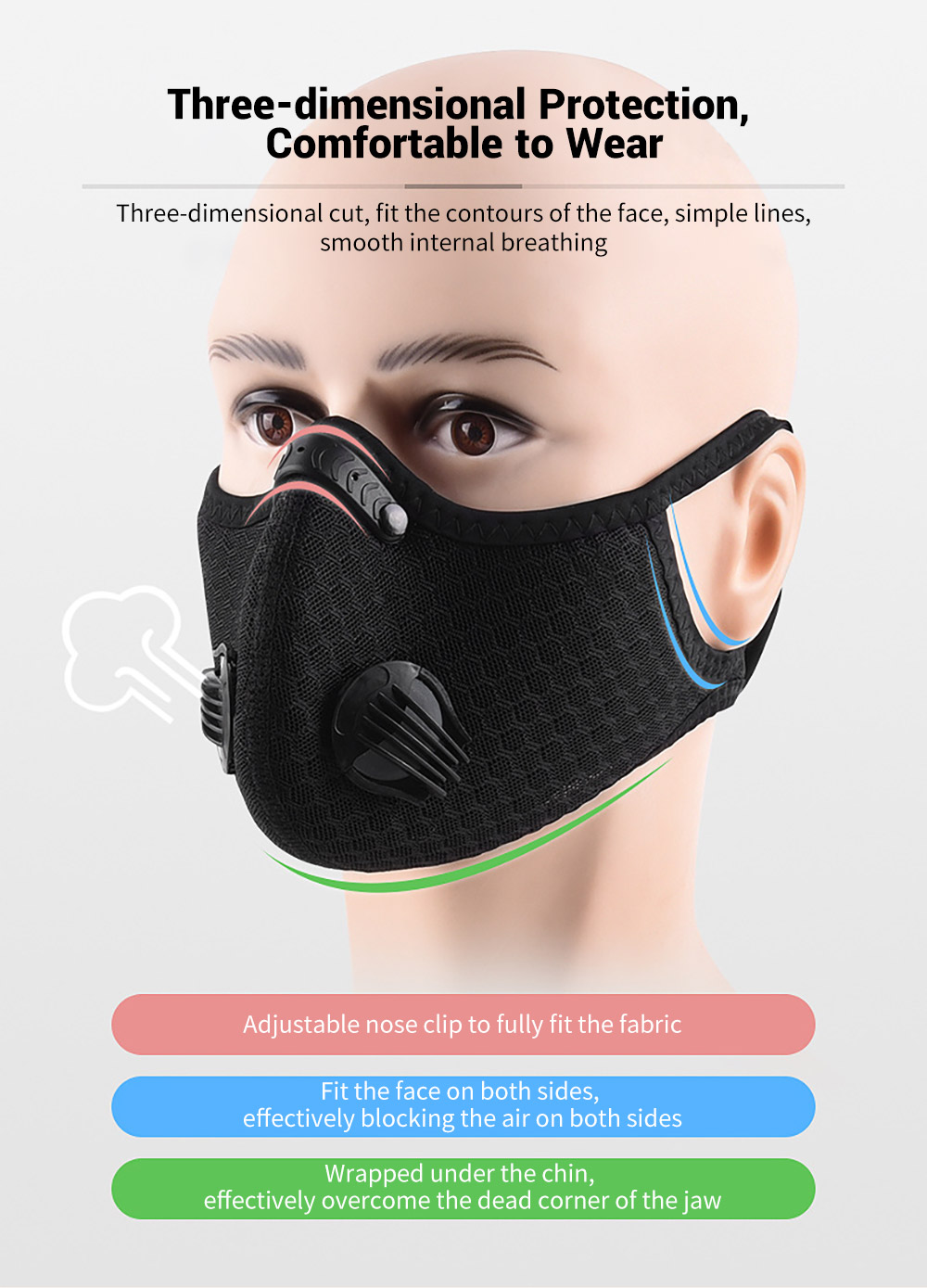 Bicycle Riding Mask Breathable Mesh Cycling Face Masks Three-dimensional Protection, Comfortable to Wear