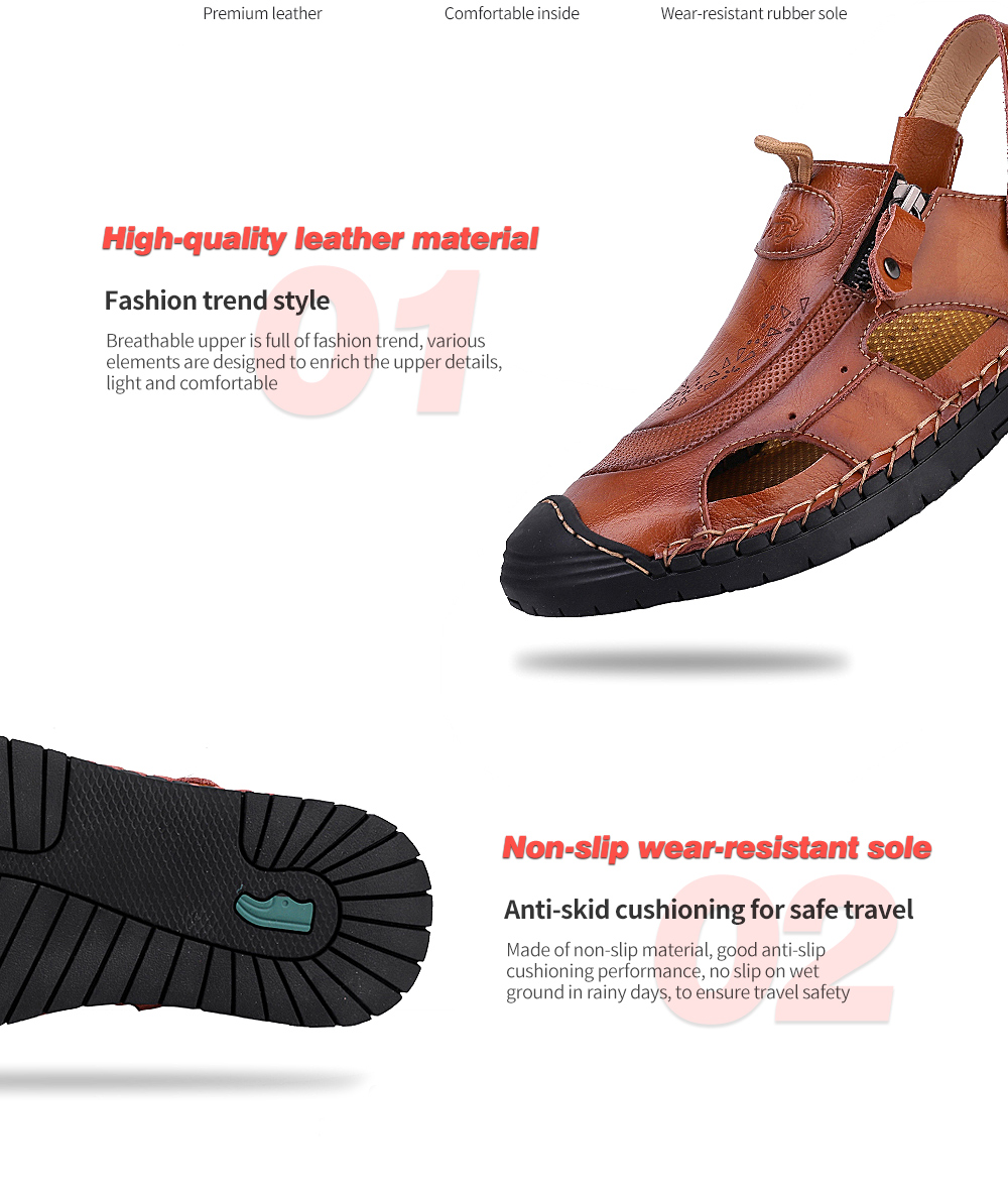 IZZUMI Men Sandals Summer Beach Holiday Slippers High-quality leather material, Non-slip wear-resistant sole