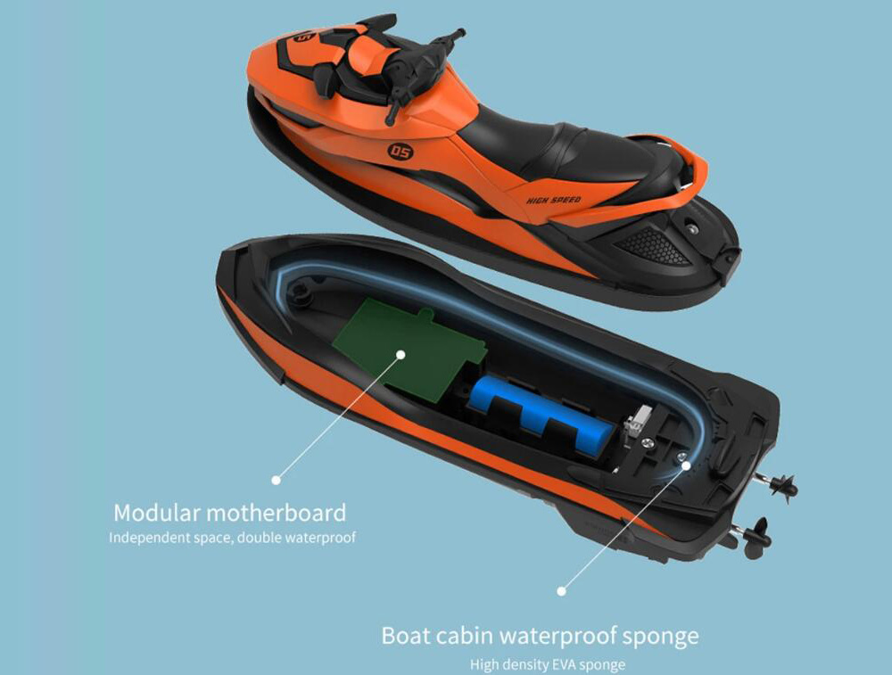 SMRC M5 2.4G Electric RC Boat Double Motor RTR Ship Model Toy - Dark Orange