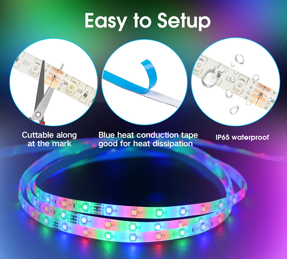 YX-22 3528 Red Green Blue RGB Soft Smart Strip Light 5m 300 LEDs IP65 Waterproof with 24 Keys Infrared Controller - White US Plug (2-pin)