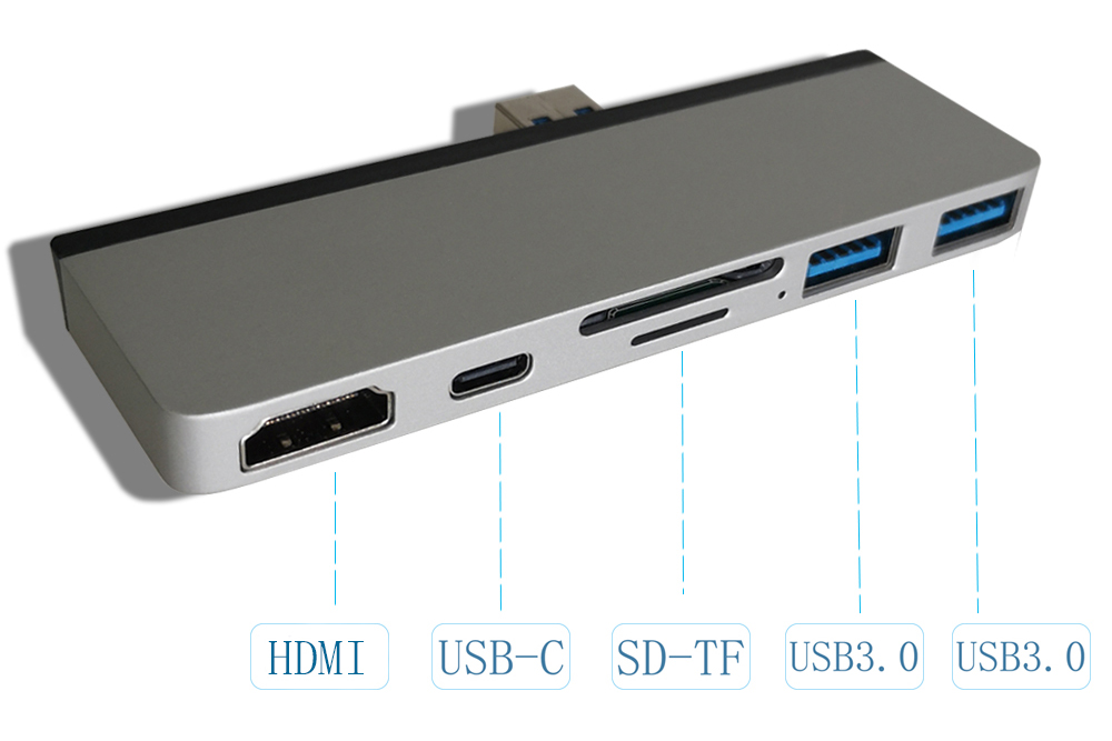 FG07 Aluminum Alloy 6-in-1 Hub Docking Station Converter for Surface Pro 7 with USB3.0 TF SD Type-C HDMI Interface - Silver
