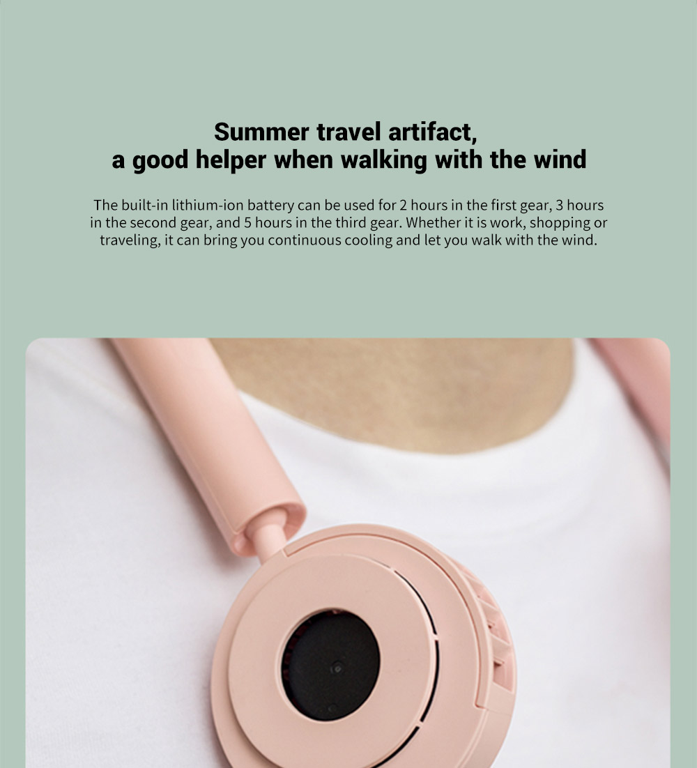 VH 3-gear Wind Speed Adjustable Hanging Neck Fan Summer travel artifact, a good helper when walking with the wind