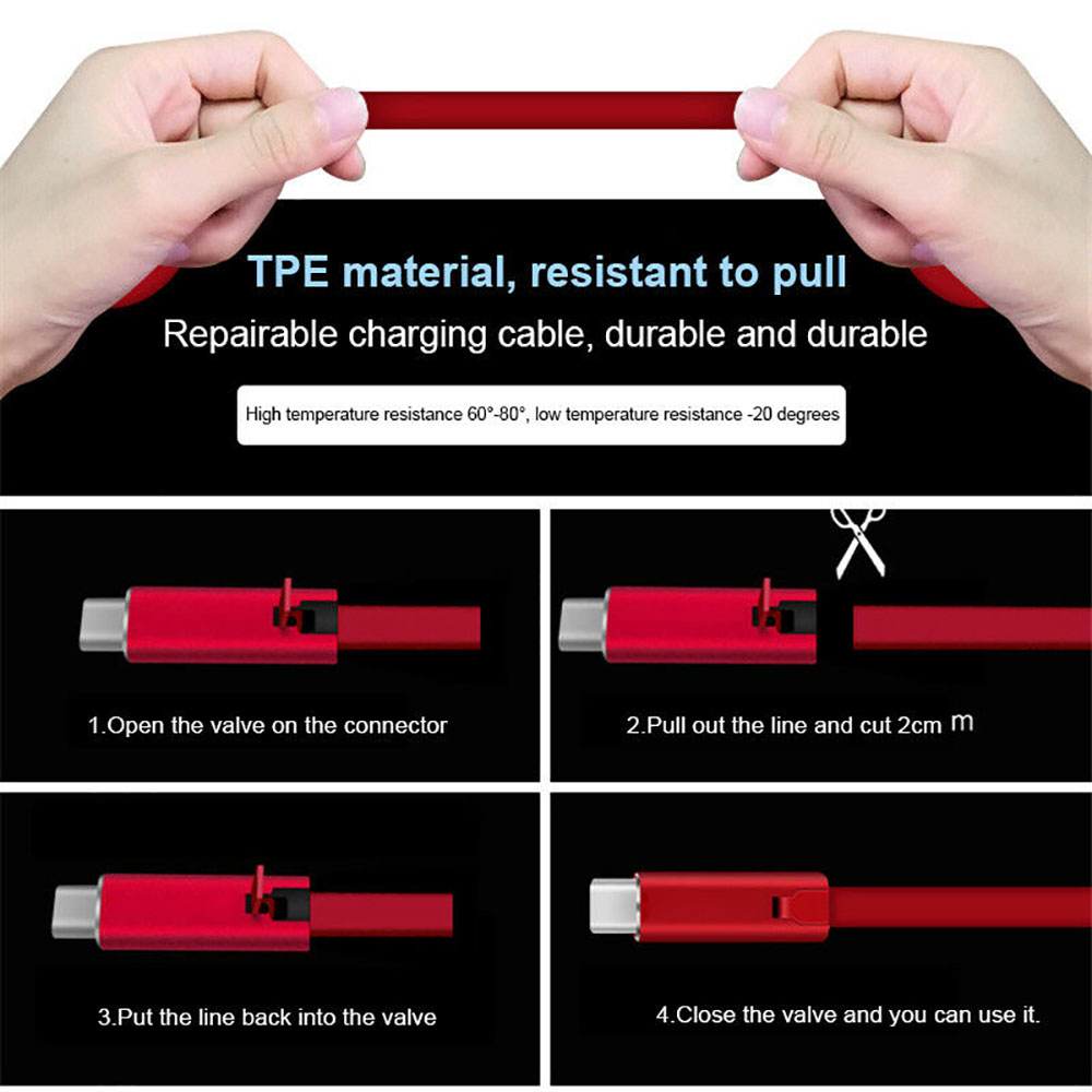 Fast Charging Regenerate USB Cable for iPhone - Red