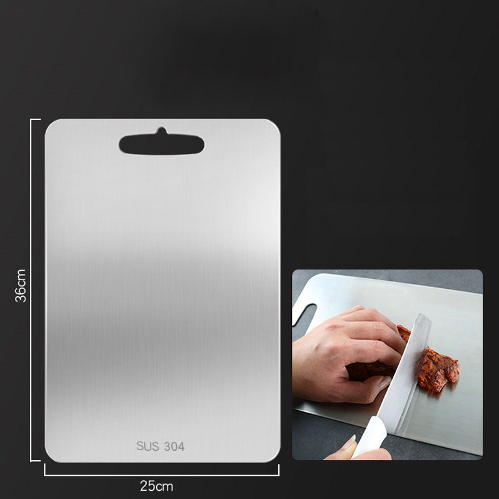 304 Stainless Steel Cutting Board Can Be Used on Both Sides Easy To Clean - Silver 15 * 25cm