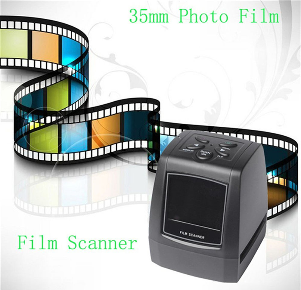 Bilikay 135mm / 35mm Smart Film Scanner Support 32G SD Card Storage LED Backlight - Black