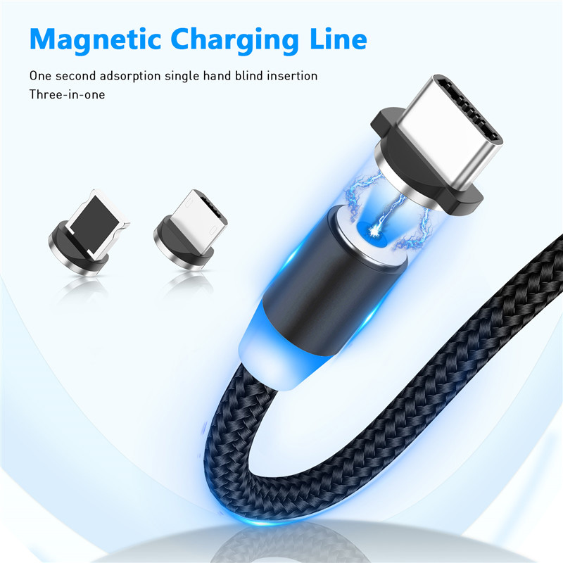 Magnetic 3 in 1 8 Pin / Type-C / Micro USB Charging Cable