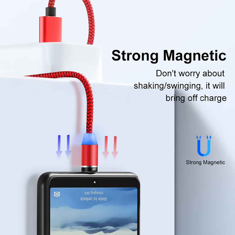 GuiPing USB to Micro USB Magnetic Metal Connector Nylon Two-Color Braided Magnetic Data Cable Cable Length Color : Red 2m
