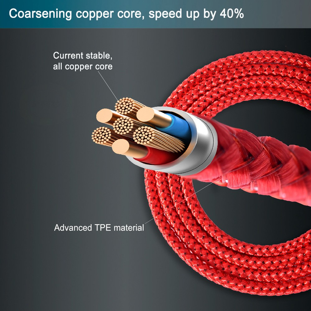Magnetic 3 in 1 8 Pin / Type-C / Micro USB Charging Cable Coarsening copper core, speed up by 40%