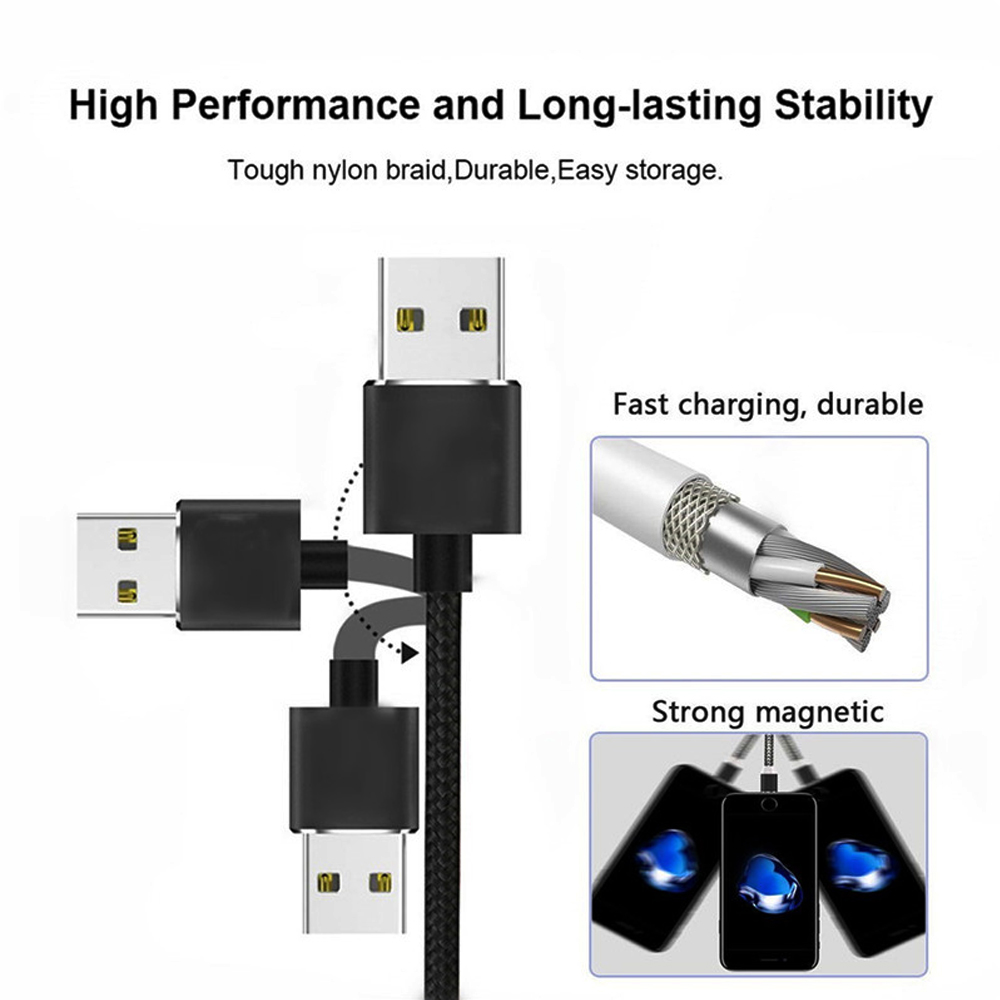 Magnetic 3 in 1 8 Pin / Type-C / Micro USB Charging Cable High Performance and Long-lasting Stability