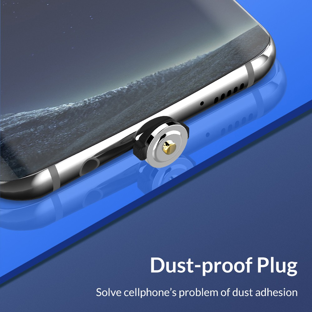 Magnetic 3 in 1 8 Pin / Type-C / Micro USB Charging Cable Dust-proof Plug