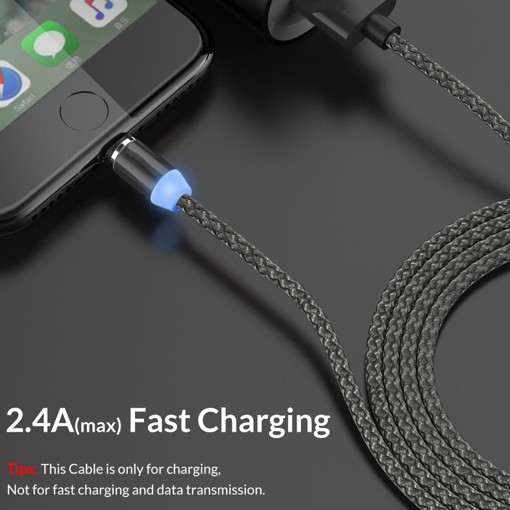 Magnetic 3 in 1 8 Pin / Type-C / Micro USB Charging Cable 2.4A(max) Fast Charging