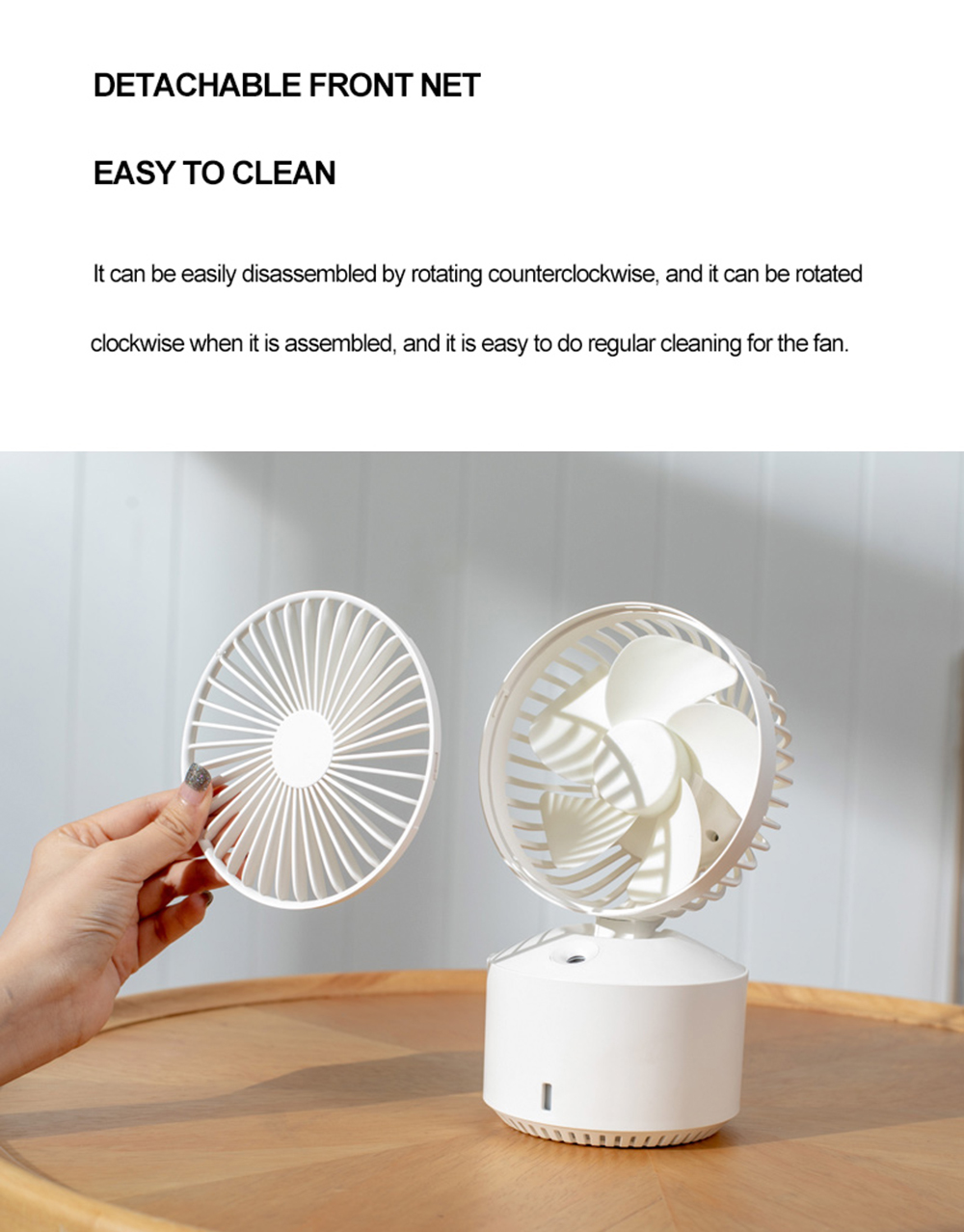 F10 Desktop Electronic Fan USB Charging Mini Humidifier 5-Gear Wind 30 Degree Adjustment Two Spray Modes 350ML Large Capacity Water Tank - White