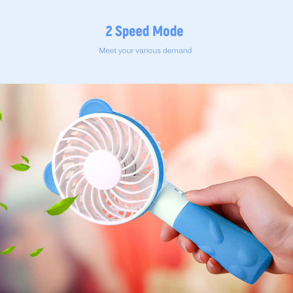 Cool Bear Shape Mini Handheld Electronic Fan USB Charging 2-Gear Speed Wind Speed Adjustable - Yellow